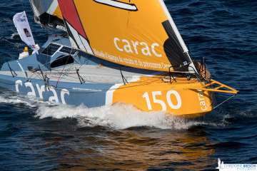 Class 40 Carac, skippers Louis Duc and Alexis Loison, training for Transat Jacques Vabre sailing race in duo, from Le Havre (FR) to Salvador de Bahia (BRA), on October 3rd, 2017 - Photo Christophe Breschi / CARAC
