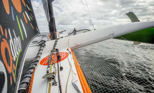 Image bank onboard Sodebo Ultim', skippers Thomas Coville and Jean-Luc Nelias, training prior to the Transat Jacques Vabre 2017, duo sailing race between Le Havre (FRA) and Salvador de Bahia (BRA), on October 12th, 2017 - Photo Vincent Curutchet / Sodebo