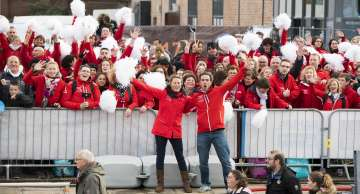 Fans visit for Initiatives-Cœur, skippers Tanguy de Lamotte and Samantha Davies, during pre-start of the Transat Jacques Vabre 2017, duo sailing race from Le Havre (FRA) to Salvador de Bahia (BRA) in Le Havre on November 4th, 2017 - Photo Vincent Curutchet / ALeA / TJV2017