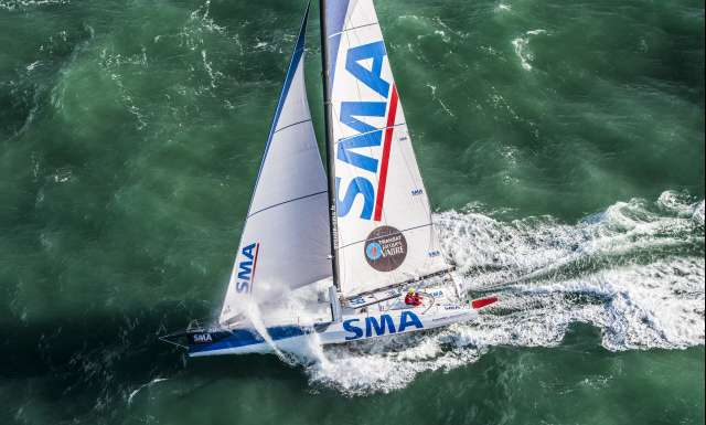 SMA, skippers Paul Meilhat and Gwenole Gahinet during start of the Transat Jacques Vabre 2017, duo sailing race from Le Havre (FRA) to Salvador de Bahia (BRA) in Le Havre on November 5th, 2017 - Photo Vincent Curutchet / ALeA / TJV17