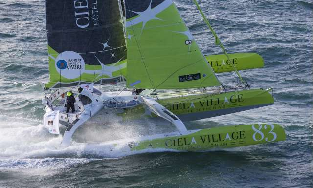 Ciela Village, skippers Thierry Bouchard and Oliver Krauss during start of the Transat Jacques Vabre 2017, duo sailing race from Le Havre (FRA) to Salvador de Bahia (BRA) in Le Havre on November 5th, 2017 - Photo Jean-Marie Liot / ALeA / TJV17