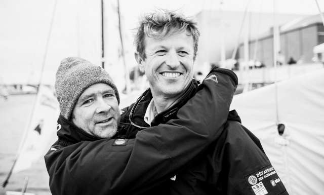 St Michel - Virbac, skippers Jean-Pierre Dick and Yann Elies Portraits expo skippers during pre-start of the Transat Jacques Vabre 2017, duo sailing race from Le Havre (FRA) to Salvador de Bahia (BRA) in Le Havre on November 4th, 2017 - Photo Jean-Louis Carli / ALeA / TJV17