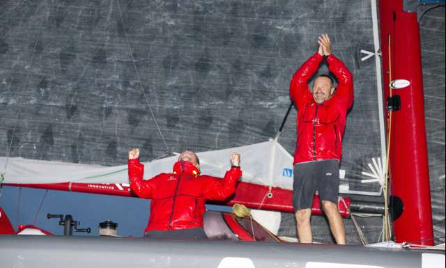 Winner Multi 50 category Arkema, skippers Lalou Roucayrol and Alex Pella, in 10d 19h 14mn 19s, during arrival of the duo sailing race Transat Jacques Vabre 2017 from Le Havre (FRA) to Salvador de Bahia (BRA), on November 16th, 2017 - Photo Jean-Marie Liot / ALeA / TJV17