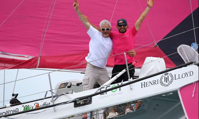 2nd place Multi 50 category Fenetrea - Mix Buffet, skippers Erwan Le Roux and Vincent Riou, during arrival of the duo sailing race Transat Jacques Vabre 2017 from Le Havre (FRA) to Salvador de Bahia (BRA), on November 16th, 2017 - Photo Jean-Marie Liot / ALeA / TJV17