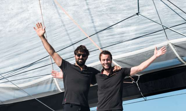 celebration after 10th place in Imoca category for Vivo A Beira, skippers Yoann Richomme and Pierre Lacaze, during arrivals of the duo sailing race Transat Jacques Vabre 2017 from Le Havre (FRA) to Salvador de Bahia (BRA), on November 21st, 2017 - Photo Jean-Louis Carli / ALeA / TJV2017