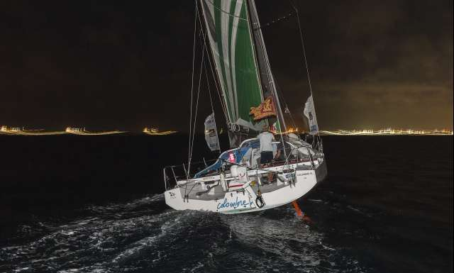 6th place in Class 40 category - Colombre XL, skippers Massimo Juris and Pietro Luciani, during arrivals of the duo sailing race Transat Jacques Vabre 2017 from Le Havre (FRA) to Salvador de Bahia (BRA), on November 24th, 2017 - Photo Jean-Marie Liot / ALeA / TJV2017