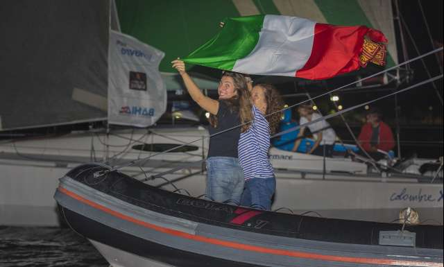 6th place in Class 40 category - Colombre XL, skippers Massimo Juris and Pietro Luciani, celebration during arrivals of the duo sailing race Transat Jacques Vabre 2017 from Le Havre (FRA) to Salvador de Bahia (BRA), on November 24th, 2017 - Photo Jean-Marie Liot / ALeA / TJV2017