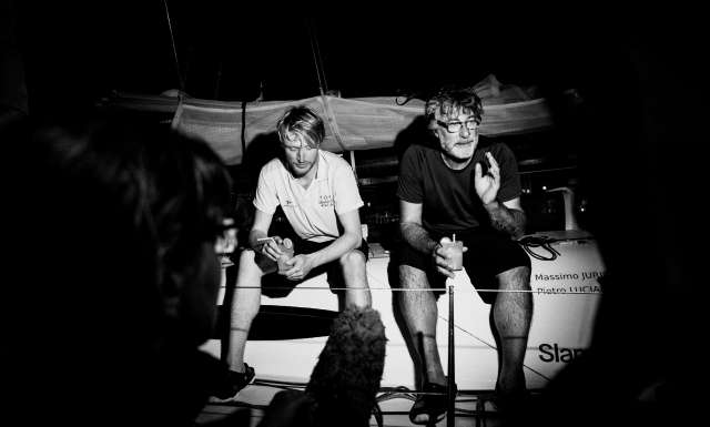 6th place in Class 40 category - Colombre XL, skippers Massimo Juris and Pietro Luciani, at pontoon during arrivals of the duo sailing race Transat Jacques Vabre 2017 from Le Havre (FRA) to Salvador de Bahia (BRA), on November 24th, 2017 - Photo Jean-Louis Carli / ALeA / TJV2017