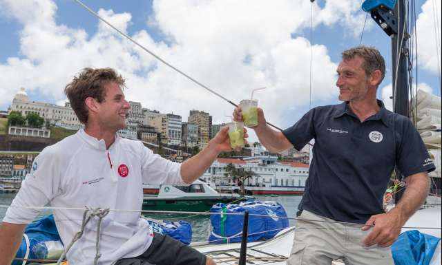 7th place in Class 40 category - Le Lion d'Or, skippers Tom Laperche and Christophe Bachmann, during arrival of the duo sailing race Transat Jacques Vabre 2017 from Le Havre (FRA) to Salvador de Bahia (BRA), on November 24th, 2017 - Photo Jean-Marie Liot / ALeA / TJV17