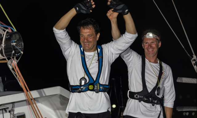 Sylvain Pontu and Christophe Rateau onboard Gustave Rossy, finishing eighth in Class 40 Ranking, during arrival of the duo sailing race Transat Jacques Vabre 2017 from Le Havre (FRA) to Salvador de Bahia (BRA), on November 25th, 2017 - Photo Jean-Marie Liot / ALeA / TJV17