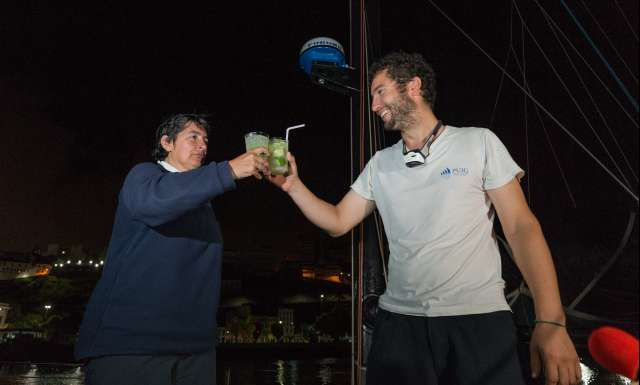 9th place in Class 40 category - Earendil, skippers Catherine Pourre and Benoit Hochart, celebration at pontoon, during arrivals of the duo sailing race Transat Jacques Vabre 2017 from Le Havre (FRA) to Salvador de Bahia (BRA), on November 26th, 2017 - Photo Jean-Marie Liot / ALeA / TJV2017