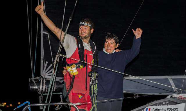 9th place in Class 40 category - Earendil, skippers Catherine Pourre and Benoit Hochart, celebration, during arrivals of the duo sailing race Transat Jacques Vabre 2017 from Le Havre (FRA) to Salvador de Bahia (BRA), on November 26th, 2017 - Photo Jean-Marie Liot / ALeA / TJV2017