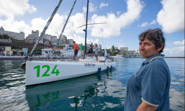 10th place in Class 40 category - OBPORTUS IV, skippers Olivier Roussey and Philippe Burger, Catherine Pourre  at the pontoon, during arrivals of the duo sailing race Transat Jacques Vabre 2017 from Le Havre (FRA) to Salvador de Bahia (BRA), on November 26th, 2017 - Photo Jean-Marie Liot / ALeA / TJV2017
