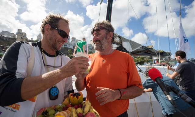 10th place in Class 40 category - OBPORTUS IV, skippers Olivier Roussey and Philippe Burger, celebration at pontoon, during arrivals of the duo sailing race Transat Jacques Vabre 2017 from Le Havre (FRA) to Salvador de Bahia (BRA), on November 26th, 2017 - Photo Jean-Marie Liot / ALeA / TJV2017