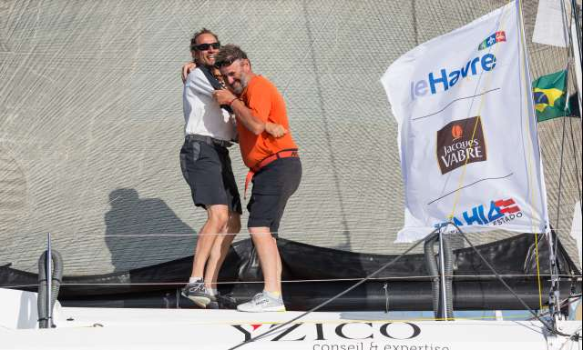 10th place in Class 40 category - OBPORTUS IV, skippers Olivier Roussey and Philippe Burger, celebration during arrivals of the duo sailing race Transat Jacques Vabre 2017 from Le Havre (FRA) to Salvador de Bahia (BRA), on November 26th, 2017 - Photo Jean-Marie Liot / ALeA / TJV2017