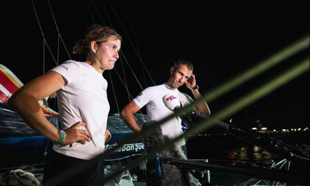 SALVADOR DE BAHIA, BRAZIL - NOVEMBER 10: Banque Populaire X skippers Clarisse Cremer and Armel Le Cleac'h talk to media after taking 6th place of the Imoca category of the Transat Jacques Vabre 2019 on November 10, 2019 in Bahia, Brazil. Transat Jacques Vabre is a duo sailing race from Le Havre, France, to Salvador de Bahia, Brazil. (Photo by Jean-Louis Carli/Alea)
