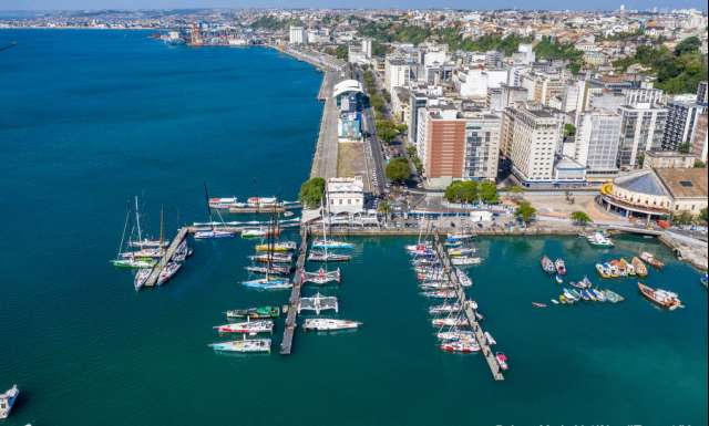 SALVADOR DE BAHIA, BRAZIL - NOVEMBER 16: The Bahia marina is illustrated full with competitors boats during arrivals of the Transat Jacques Vabre 2019 on November 16, 2019 in Bahia, Brazil. Transat Jacques Vabre is a duo sailing race from Le Havre, France, to Salvador de Bahia, Brazil. (Photo by Jean-Marie Liot/Alea)