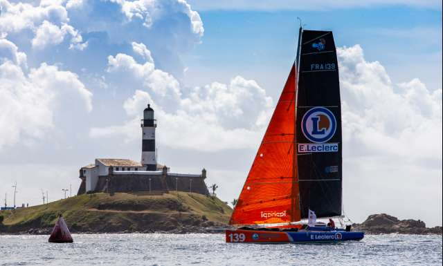 SALVADOR DE BAHIA, BRAZIL - NOVEMBER 18: E. Leclerc skippers Pierrick Letouze and Simon Kervarrec take 17th place in the Class 40 category of the Transat Jacques Vabre 2019 on November 18, 2019 in Bahia, Brazil. Transat Jacques Vabre is a duo sailing race from Le Havre, France, to Salvador de Bahia, Brazil. (Photo by Jean-Marie Liot/Alea)