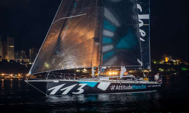 SALVADOR DE BAHIA, BRAZIL - NOVEMBER 19: Attitude Manche skippers Martin Louchart and Frederic Duchemin take 18th place in the Class 40 category of the Transat Jacques Vabre 2019 on November 19, 2019 in Bahia, Brazil. Transat Jacques Vabre is a duo sailing race from Le Havre, France, to Salvador de Bahia, Brazil. (Photo by Jean-Marie Liot/Alea)